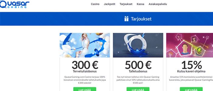 Quasar Gaming casino bonus