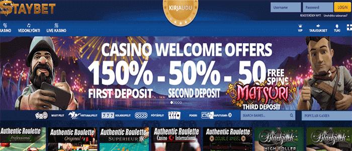 Staybet kasino bonus