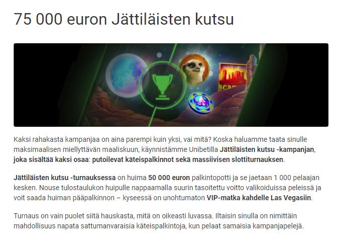 Unibet jättiläisen kutsu 75 000 euroa