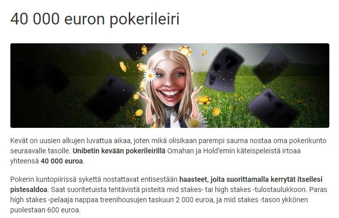 Unibet ja 40 000 euron pokerileiri