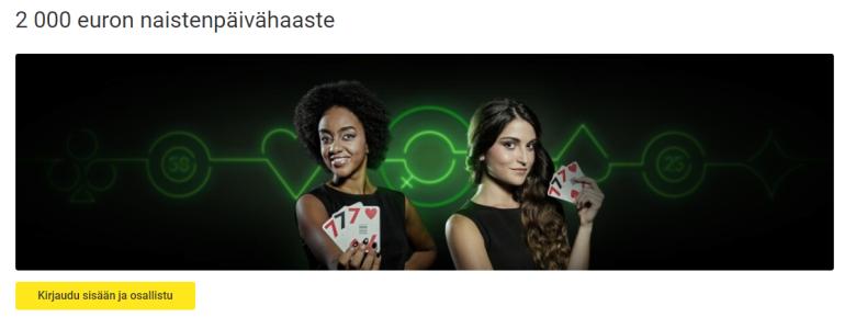 Unibet naistenpäivän 2000 euron Blackjack -haaste