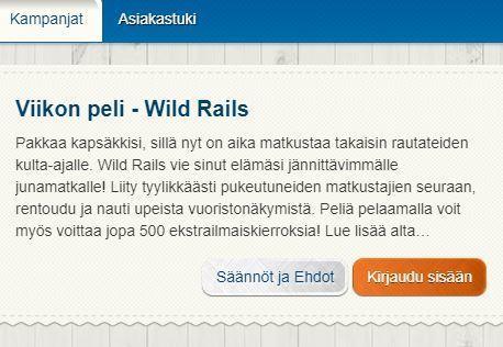 Suomiautomaatti - ilmaiskierroksia pelissä Wild Rails