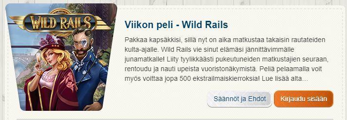 Suomiautomaatti ja ilmaiskierroksia pelissä Wild Rails
