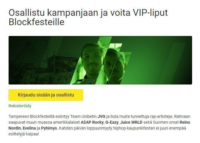 Unibet - VIP-liput Blockfesteille