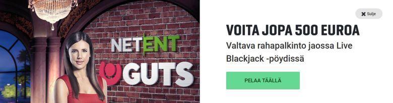 Guts - Live Blackjack sekä 500 euroa