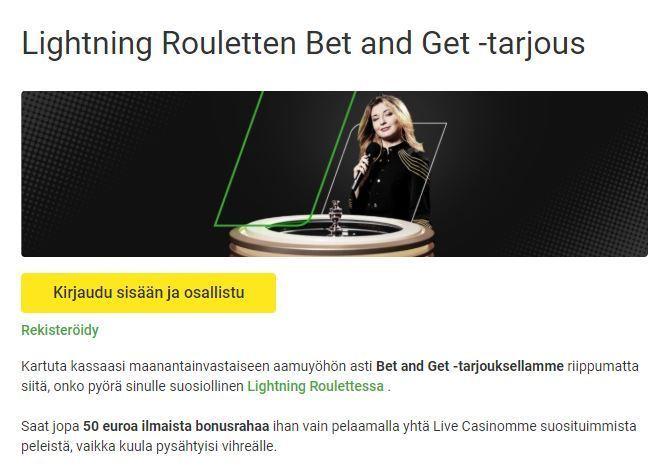 Unibet - Lightning Roulette -tarjous