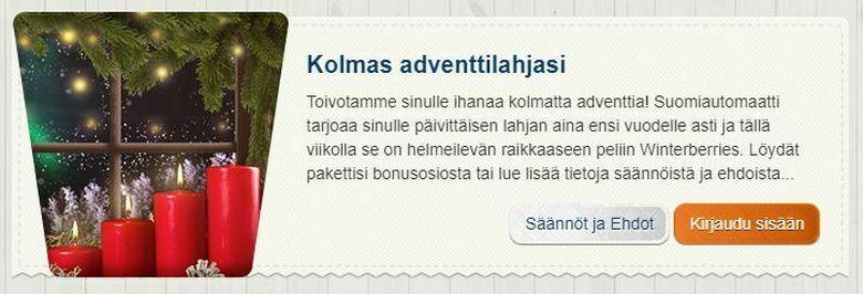 Suomiautomaatin kolmas adventtilahja
